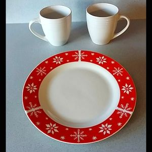 Holiday plate and two coffee mugs